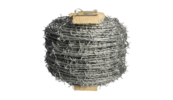 barbed wire on a wooden reel