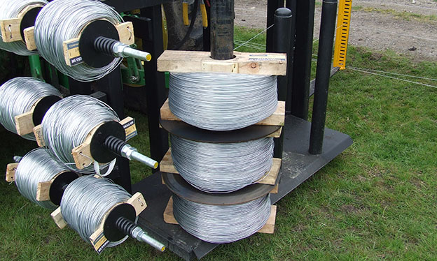 coils of plain wire on reels