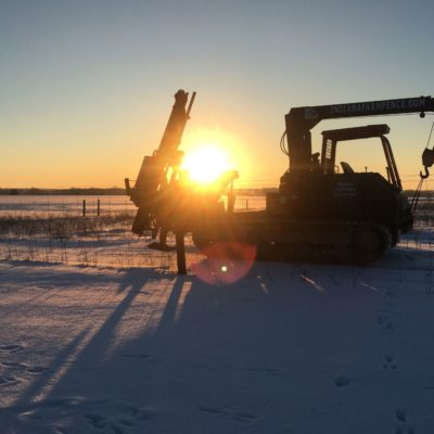 USA fenciing machine in snow